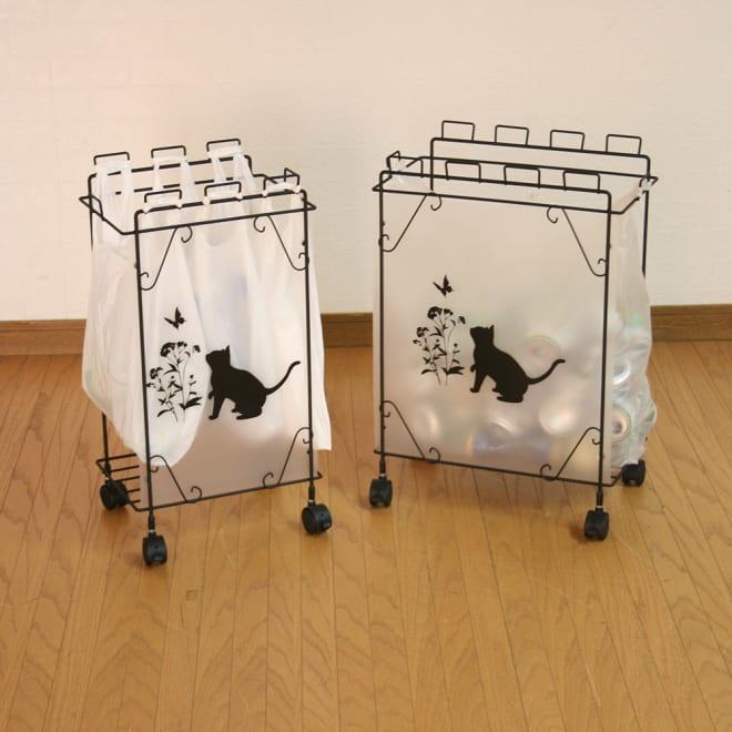 猫モチーフダストボックス 幅33.5cm お届けは左側、幅33.5cmです。