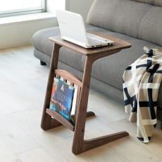 カフェ風天然木ソファサイドテーブル 幅40cm 写真