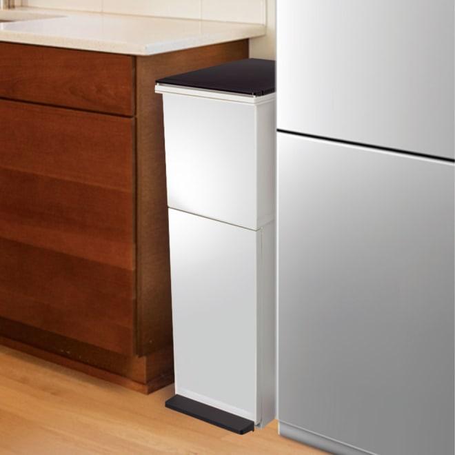 分別ダストボックス ペダル2段スリム 狭小のキッチンスペースにも収まる薄型ワイドな型。