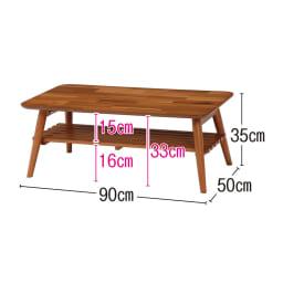 天然木折りたたみテーブル(スクエア) (イ)ライトブラウン