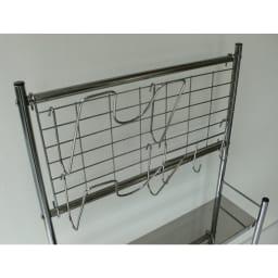 ステンレス棚コンロサイド収納ラック ネットパネル付き 幅56cm 鍋フタの置き場所って困りますよね。