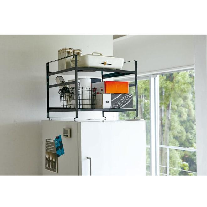 冷蔵庫上ラック 冷蔵庫上のデッドスペースをスタイリッシュに有効活用