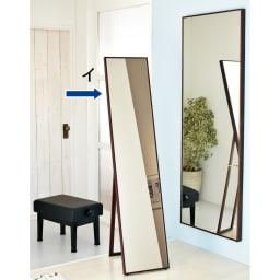 スタンド&壁掛け兼用ミラー 幅45高さ157cm (イ)ブラウン色見本 ※写真は幅32cmです。