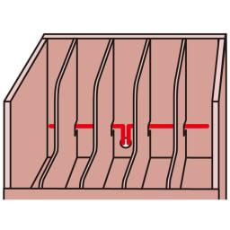 デスク下すっきり整理ワゴン マガジンラックタイプ 仕切り板の奥からコード穴を通し、裏面へ配線可能。