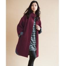 ウール混配色使い スタンドカラーコート 【大きいサイズ L・LL・3L・4L・5L】