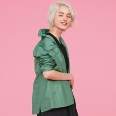 ウォッシュ加工 グリーンシャツジャケット