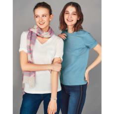 柔らかな肌触りのテンセルコットン VネックTシャツ
