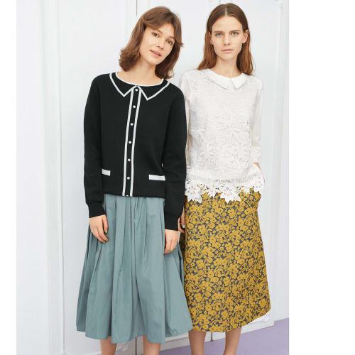 フランス素材 花柄ジャカード Aラインスカート 画像
