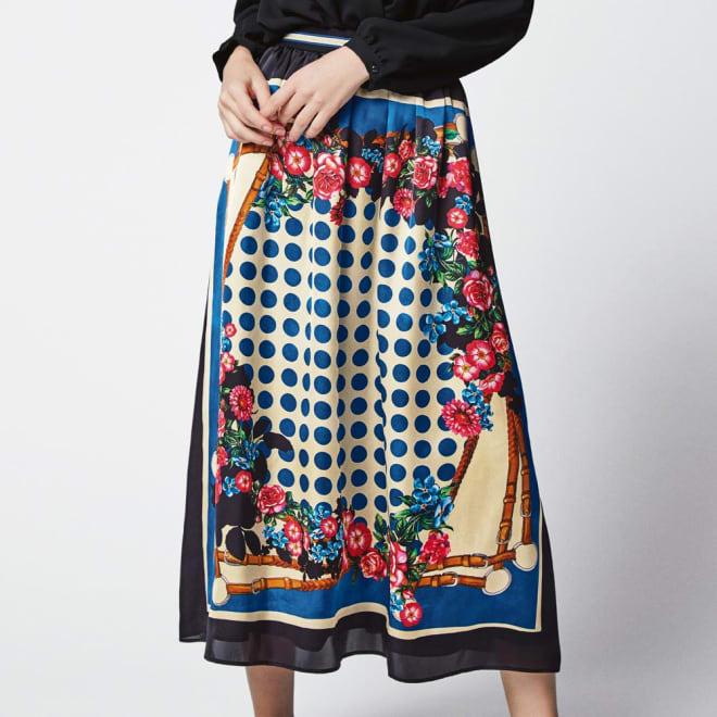 スカーフ柄プリントスカート コーディネート例