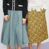 フランス素材 花柄ジャカード Aラインスカート 写真