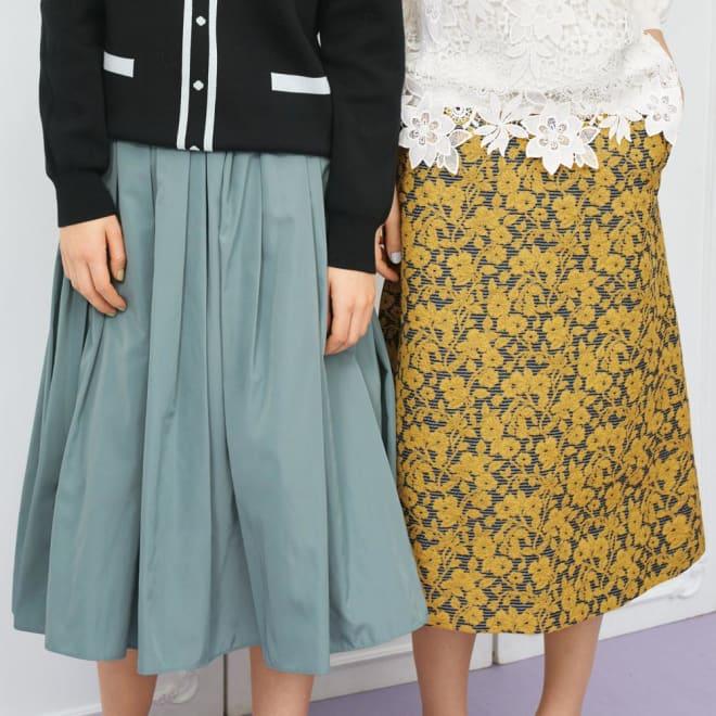フランス素材 花柄ジャカード Aラインスカート (右)フランス素材 花柄ジャカード Aラインスカート コーディネート例