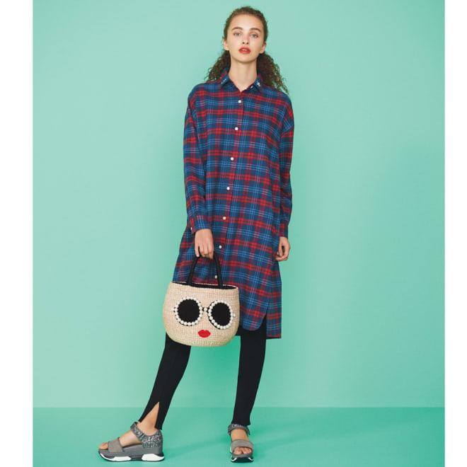 刺繍入り チェックシャツワンピース ネルシャツワンピはレギンスと合わせて旬顔に コーディネート例