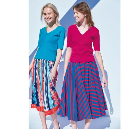 パネルストライプ プリーツスカート 画像