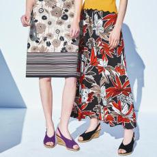 イタリア素材 フラワープリント ジャージーマキシスカート
