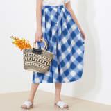 フランス素材 バイアスチェック フレアスカート 写真