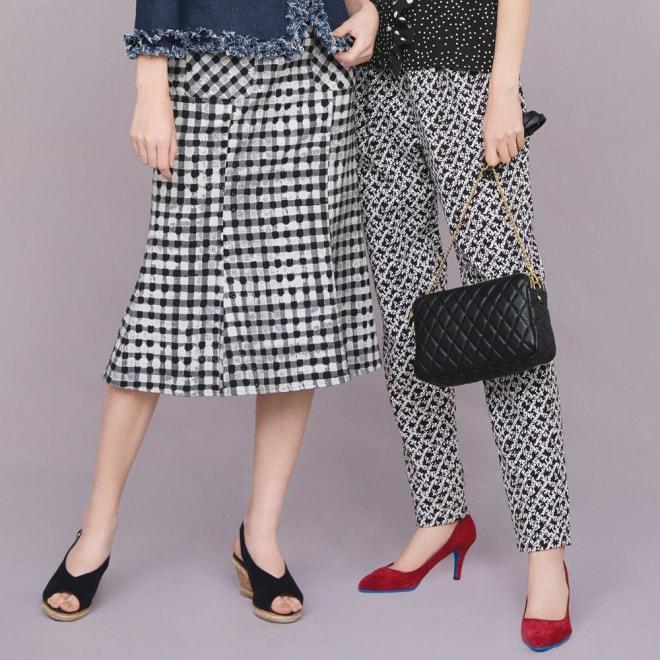 イタリア素材 ギンガムマーメイドスカート (左)イタリア素材 ギンガムマーメイドスカート コーディネート例