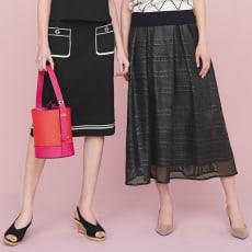 光沢レースタックフレアスカート