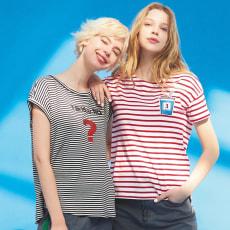 ELEONORA AMADEI/エレオノーラアマダイ ロゴプリント ボーダーTシャツ(イタリア製)