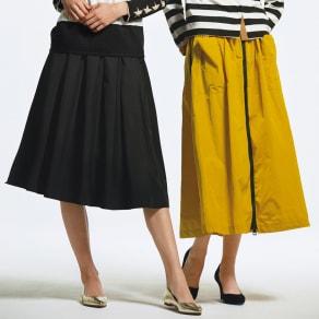 フロントジップ サイドライン フレアスカート(イタリア製) 写真