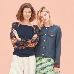 フランス素材 パネルジャカード フリンジ使いジャケット (右)フランス素材 パネルジャカード フリンジ使いジャケット コーディネート例