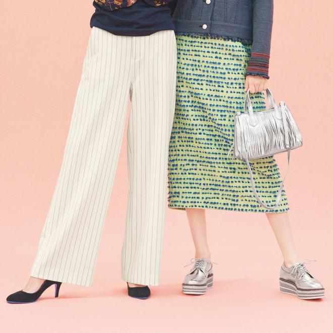 イタリア素材 ボーダーツイード スカート (右)イタリア素材 ボーダーツイード スカート コーディネート例