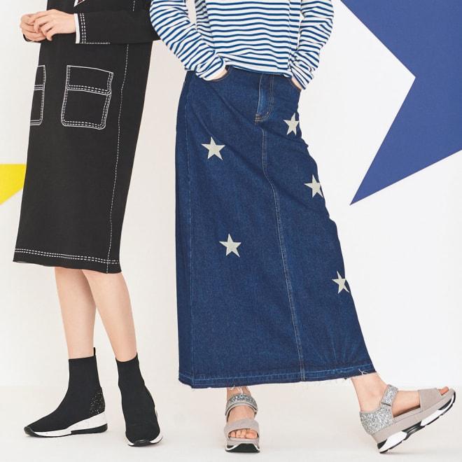 星柄刺しゅうデニムスカート (右)星柄刺しゅうデニムスカート コーディネート例