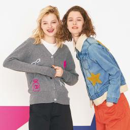 ボア使い星ワッペン デニムジャケット (右)ボア使い星ワッペン デニムジャケット コーディネート例