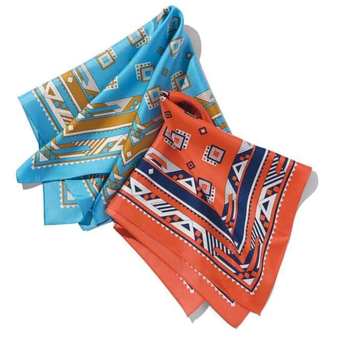 シルクプリントプチスカーフ 左から(イ)ブルー (ア)オレンジ