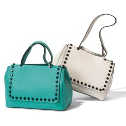 Marant/マラン スタッズ付きバッグ(イタリア製) 左から(イ)ブルーグリーン (ア)アイボリー