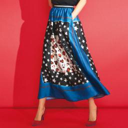 星とヒョウ柄スカーフプリント フレアスカート コーディネート例