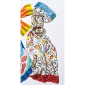 MALFROY/マルフロイ フェイス柄 スカーフ(フランス製) 写真