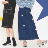 星柄刺しゅうデニムスカート 写真