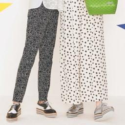 イタリア素材 フェイス柄ジャカード リバーシブルパンツ (左)イタリア素材 フェイス柄ジャカード リバーシブルパンツ ブラック面 着用例