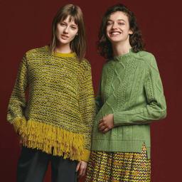 アラン編み ニットプルオーバー (右)アラン編み ニットプルオーバー (イ)グリーン コーディネート例