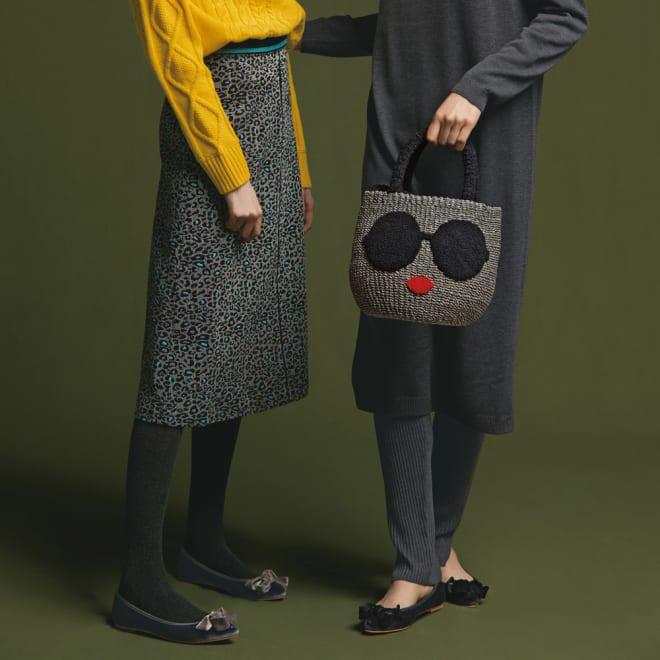 フランス素材 ヒョウ柄 ジャカードAラインスカート (左)フランス素材 ヒョウ柄 ジャカードAラインスカート コーディネート例