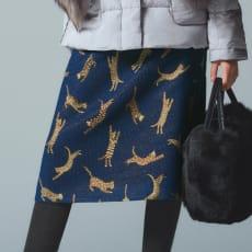 フランス素材 アニマル ジャカード織り Aラインスカート