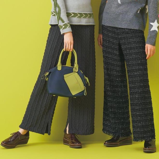 裾フリンジラメ入り ツイードパンツ (右)裾フリンジラメ入り ツイードパンツ コーディネート例