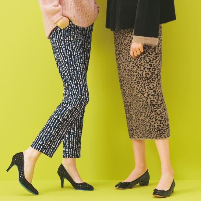 ヒョウ柄ジャカード ニットスカート (右)ヒョウ柄ジャカード ニットスカート コーディネート例