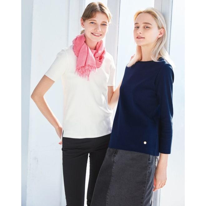 超長綿スビンギザコットン ワイドリブ長袖Tシャツ (右)超長綿スビンギザコットン ワイドリブ長袖Tシャツ (イ)ネイビー コーディネート例