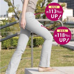 バーンズアップ 骨盤ウィングリフトショーツ 穿いて歩けばおなか(腸腰筋)、太もも(大腿四頭筋)の筋活動量がアップ!※ユニチカ ガーメンテック調べ(被験者36歳~48歳女性3名の平均結果・未着用時と着用時で1分間に15回の踏み台昇降運動をした時の筋電図測定)