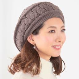 ニット帽子2種セット(キャスケット&ベレー帽) (イ)ブラウン系 コーディネート例