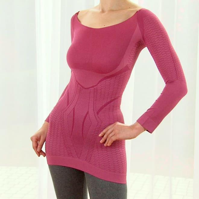 セルスルーエステ ロングトップス 人気インナー「セルスルーエステシリーズ」。着ると瞬時に着痩せして見え、さらに着続けるとエステのような刺激&温めケアでスリムを目指す!あったかインナーとしてもおすすめ! (イ)ローズピンク…落ち着いた色合いのピンク