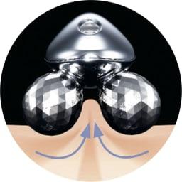 ReFa/リファ プラチナ電子ローラー(R) ReFa 4 CARAT(リファフォーカラット) より効率的に肌を引きよせ、連続的につまみ流すことが可能。