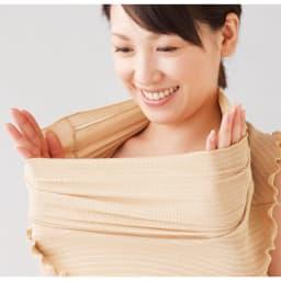 涼感UVフェイスガード 同色2枚組 グーンと伸びる素材なので、顔や首への締めつけ感なく、髪型もくずれにくい。