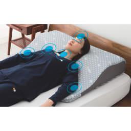 エムール リュクスシリーズ ボディーアッパーピロー2 本体(専用カバー付)+専用カバーのセット 頭・肩・背中・肘に集中しやすい圧力を上半身全体で分散
