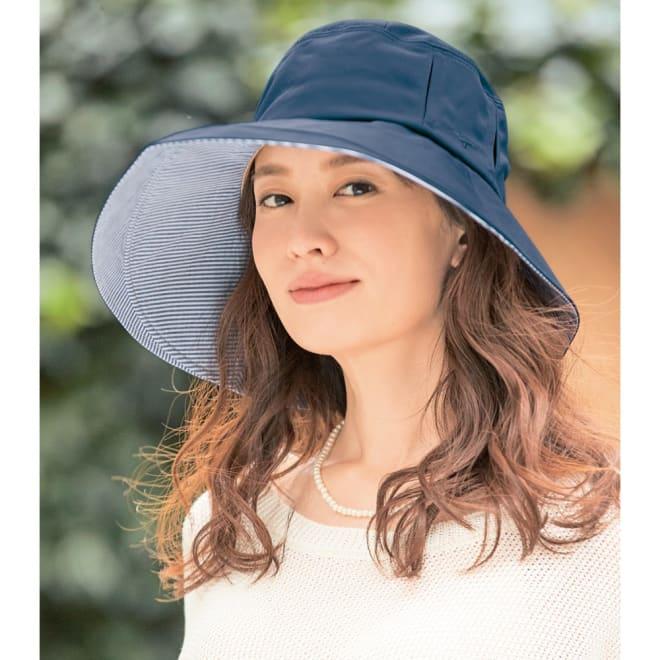 MIZUNO/ミズノ 着る木陰のつば広帽子 (イ)ネイビー コーディネート例