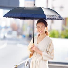 リバーレース 竹持ち手のショートワイド傘(晴雨兼用・遮光・遮熱) 写真