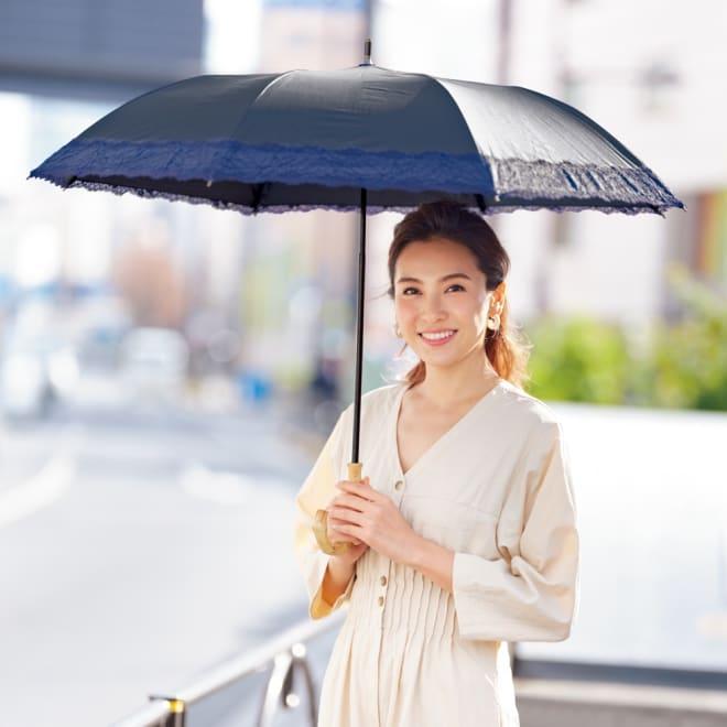 リバーレース 竹持ち手のショートワイド傘(晴雨兼用・遮光・遮熱) コーディネート例 UVカット率約99%以上
