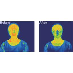 フェイシャルフィットネス パオ スリーモデル PAO運動による皮膚表面温度の変化。終わったあとは気分爽快です。※効果には個人差があります