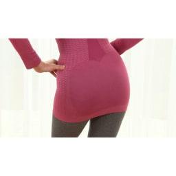 セルスルーエステ ロングトップス ○お尻…〈無圧編み〉全方向に伸びる編み方で、ヒップの丸みをつぶさずフィット。窮屈さも感じにくい。